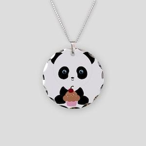 Panda Bear with Pink Cupcake Necklace