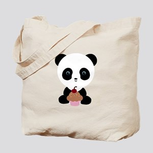 Panda Bear with Pink Cupcake Tote Bag