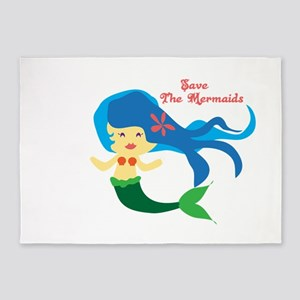 Save The Mermaids 5'x7'Area Rug