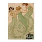 Vintage French Ephemeres Mermaid 5'x7'area Rug