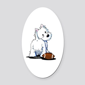 Tailgating Westie Oval Car Magnet
