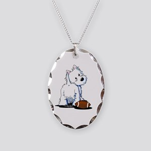 Tailgating Westie Necklace Oval Charm
