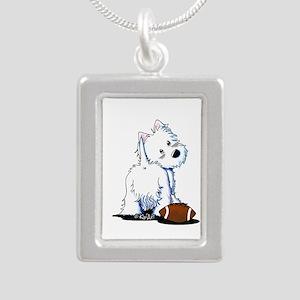 Tailgating Westie Silver Portrait Necklace