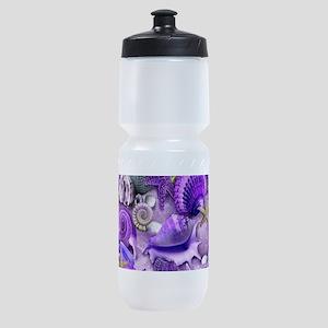 Purple Seashells and Starfish Sports Bottle