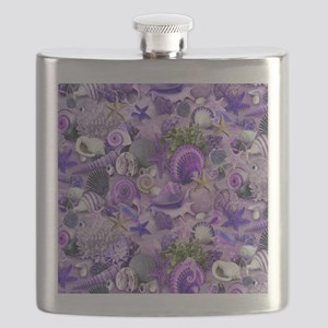 Purple Seashells and Starfish Flask