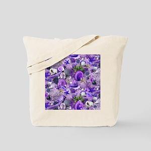 Purple Seashells and Starfish Tote Bag