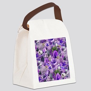 Purple Seashells and Starfish Canvas Lunch Bag