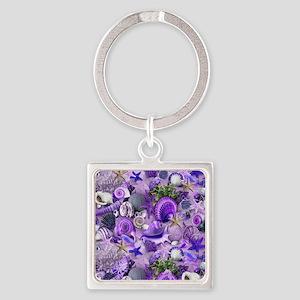 Purple Seashells and Starfish Keychains