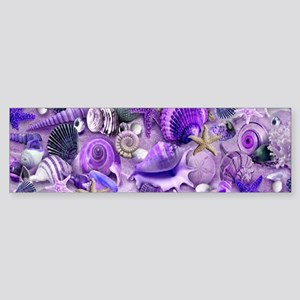Purple Seashells and Starfish Bumper Sticker