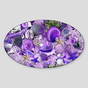 Purple Seashells and Starfish Sticker