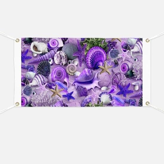 Purple Seashells and Starfish Banner