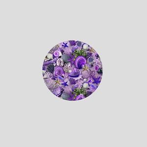 Purple Seashells and Starfish Mini Button