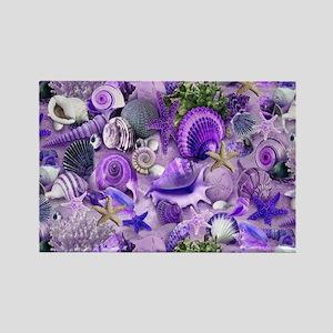 Purple Seashells and Starfish Magnets