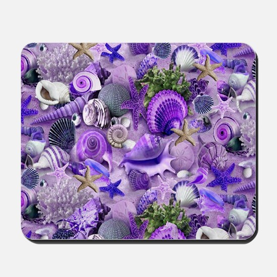 Purple Seashells and Starfish Mousepad