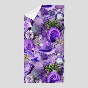 Purple Seashells and Starfish Beach Towel