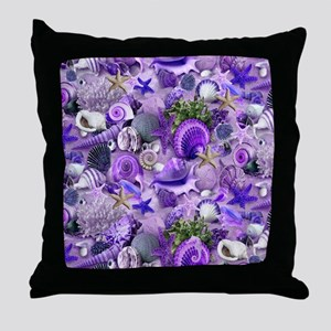Purple Seashells and Starfish Throw Pillow