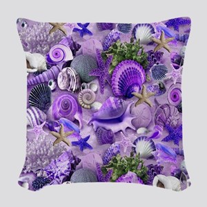 Purple Seashells and Starfish Woven Throw Pillow