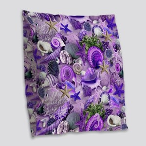 Purple Seashells and Starfish Burlap Throw Pillow