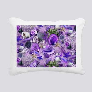 Purple Seashells and Starfish Rectangular Canvas P