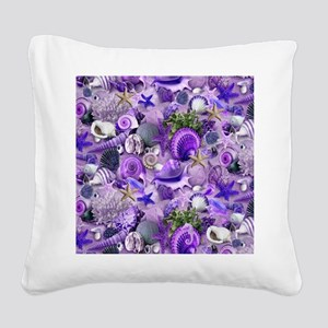 Purple Seashells and Starfish Square Canvas Pillow