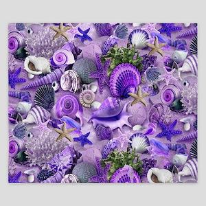 Purple Seashells and Starfish King Duvet