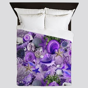 Purple Seashells and Starfish Queen Duvet