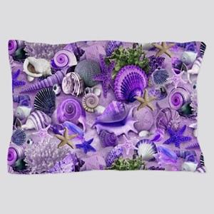 Purple Seashells and Starfish Pillow Case
