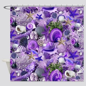 Purple Seashells and Starfish Shower Curtain