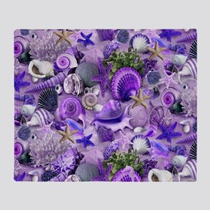 Purple Seashells and Starfish Throw Blanket