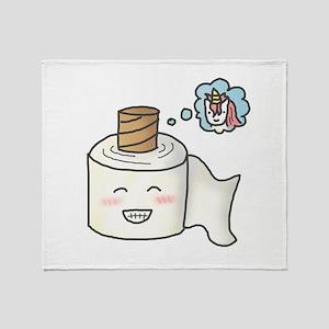 Toilet Paper Unicorn Dream Big Throw Blanket