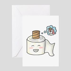 Toilet Paper Unicorn Dream Big Greeting Cards
