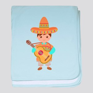 Cute Boy Guitar Mexican Fiesta baby blanket