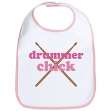 Drummer Chick music Bib