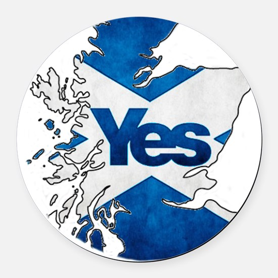 Yes for Scotland Round Car Magnet