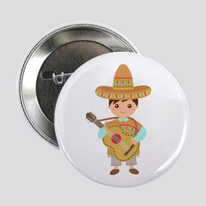 "Cute Boy Guitar Mexican Fiesta 2.25"" Button"