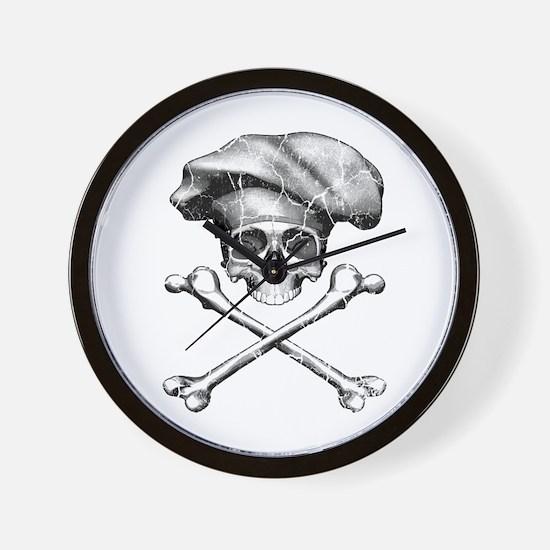 Chef Skull and Crossbones Wall Clock
