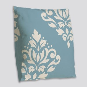 Scroll Damask Art I Crm On Blu Burlap Throw Pillow