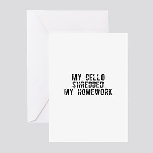 My Cello Shredded My Homework Greeting Cards (Pack