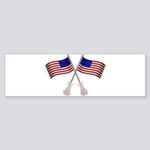 American Flag Lacrosse Sticks Bumper Sticker
