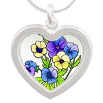Flowers of Spring Silver Heart Necklace