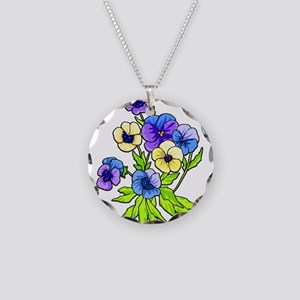 Flowers of Spring Necklace Circle Charm