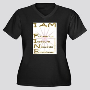 I am fine Women's Plus Size V-Neck Dark T-Shirt