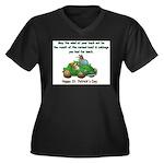 Irish Powered Women's Plus Size V-Neck Dark T-Shir