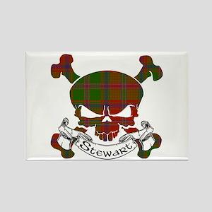 Stewart Tartan Skull Rectangle Magnet