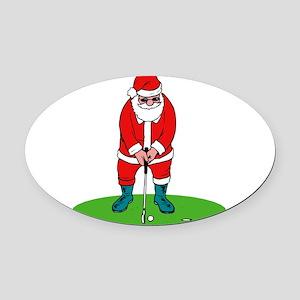 Santa plys golf Oval Car Magnet