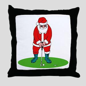 Santa plys golf Throw Pillow