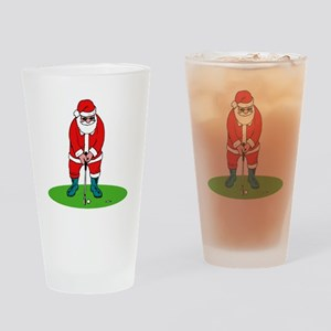 Santa plys golf Drinking Glass
