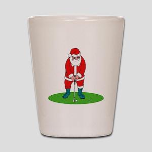 Santa plys golf Shot Glass