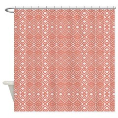 Aztec Roots Coral Shower Curtain
