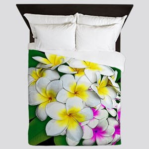 Plumeria Flowers Bouquet Queen Duvet